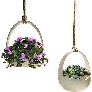 New Ceramic Glazed Hanging Planters with Hemp Rope